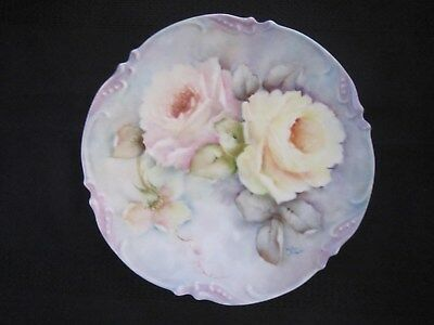 "Vintage Hand Painted Plate Roses Flowers Plate Signed 8.5"" Round"