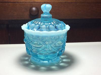 Mosser glass aqua blue eyewinker honey jar