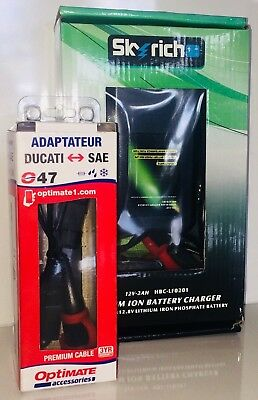 Ducati V4 Lithium Ion Battery Charger by Skyrich & Ducati to SAE Adapter by Opti