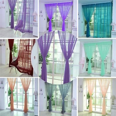1pc & Voile Scarf Divider Drape Panel Sheer Tulle Door Window Curtain Valances