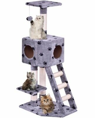"""44"""" Cat Tree Tower Condo Furniture Scratching Post Pet Kitty Play House Gray New"""