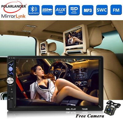 """Bluetooth USB/AUX/FM 2Din +Camera Touch Screen Car Radio HD 7"""" Stereo MP5 Player"""