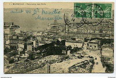 CPA-Carte postale-France - Marseille - Panorama des Ports - 1914 ( CP4614 )