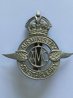 Ww2 Raf Air Ministry Constabulary Police Cap Hat Badge - World War Two Air Force