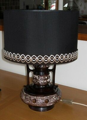 LOVELY VINTAGE WEST GERMAN LAVA CERAMIC TABLE LAMP & SHADE - 49.5 cm Tall - VGC