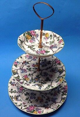 Royal Tudor Ware Barker Bros 3-Tier Serving Tray Lorna Doone Green Trim Chintz