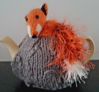 Hand Knitted Tea Cosy - Fox - to fit small 2 cup tea pot
