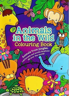 Animals in the Wild Colouring Book Kids Art Creative Lion Elephant Monkey Jungle