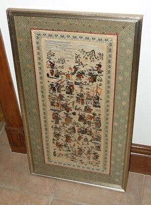 Framed and Glazed Japanese Silk Embroidered Picture  Festival Scene  67.5 x 37cm