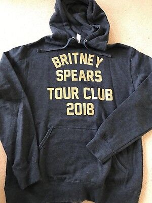 Rare Britney Spears Tour Club 2018 Grey Hoodie Size Small New Unisex