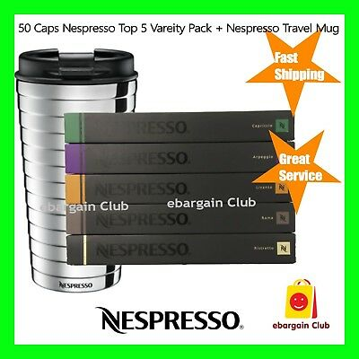 50 Capsules Nespresso Coffee Variety Pack + Travel Mug Mixed Pods Top 5 eBC