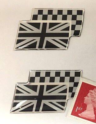 2 x British Union Jack & Chequered Flag Stickers Super Shiny Domed Finish