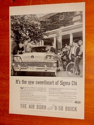 Neat 1958 Buick At University Of Michigan Ad + Vintage B-58 Retro American 50S