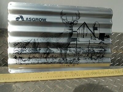 ASGROW SOYBEAN SEEDS SIGN corrigated aluminum Advertising Farm Dekalb Monsanto