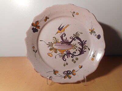 Plate antique earthenware the Rochelle bird 18TH 18 century ceramic french