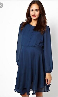 ASOS Maternity Double Layer Shift Navy Shift Dress Soldout Size 12