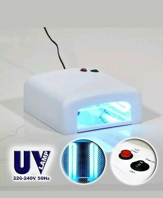 36W UV Lamp Gel Polish Curing Nail Art Dryer Manicure with 120sec Timer 4 Bulbs