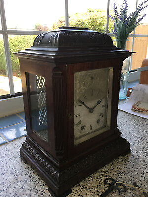 Rare Vintage Victorian Carved Mahogany 8 Day Gentleman's Master Library Clock
