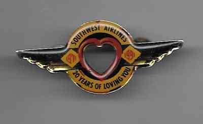 vintage Southwest Airlines pin wings heart 20 years rare