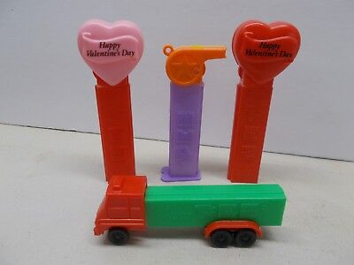 Pez Candy Dispensers ~ 4-Dispensers -Truck-Valentines-Whistle~ Good Condition