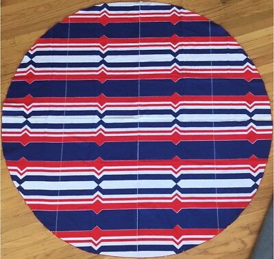 Rare Vintage Retro Vera Neumann Round Tablecloth MCM Red White And Blue 55 Inch