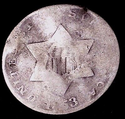 1853 3C Three Cent Silver Piece, llct 75% Silver,  50 Cents Shipping