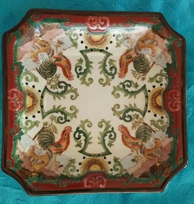 Antique Hand Painted Made in China Chinese 8 Sided Rooster and Hen Platter/Plate