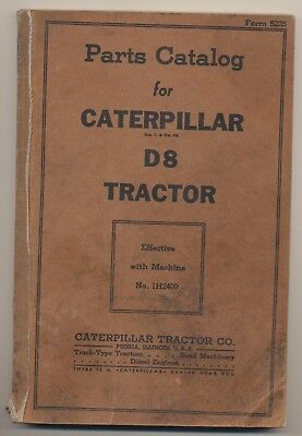 Parts Catalog for Caterpillar Diesel D8 Tractor 1H2409  Form 5225 1939 Version