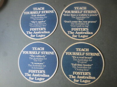 """complete set of 4   FOSTERS DRAUGHT """"Teach Yourself Strine"""" beer  COASTERS"""