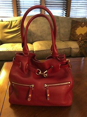 """New Cole Haan Red Leather Tote Bag 11"""" x 15"""""""