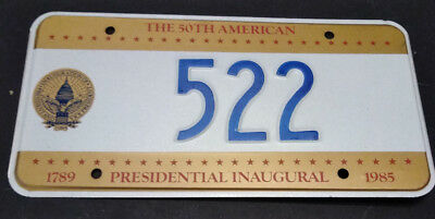 1985 District Of Columbia 522 Inaugural Inauguration License Plate