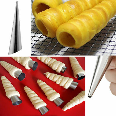 12Pcs Stainless Steel Non-Stick Baking Cream Horn Pastry Roll Mold Baking Cone *