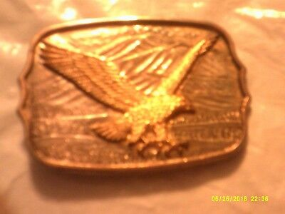Vintage Flying Eagle, Mountains, Bird Brass Belt Buckle