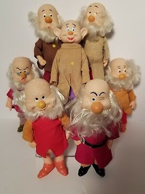 SEVEN DWARVES FIGURES DOLLS VINTAGE 1980s CLOTH HAIR