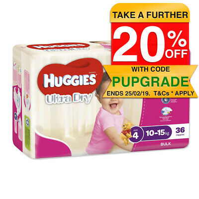 Huggies 36PK Ultra Dry Nappies/Nappy/Diaper Kids/Toddler/Girls 10-15kg Size 4