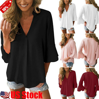 Women's Chiffon Casual Loose Bell Flare 3/4 Sleeve V Neck Tops Blouse T-shirt US