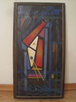 vintage signed oil painting abstract modern signed Waddell ? framed canvas art