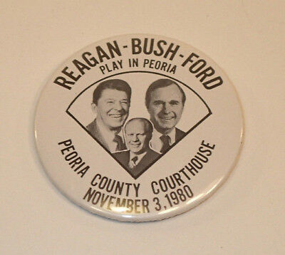 1980 Reagan Bush Ford Peoria, Illinois Courthouse Trigate Campaign Button
