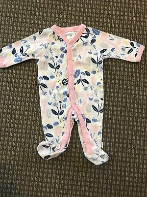 2x Newborn Pink White Flower Polka Dot Body Suit