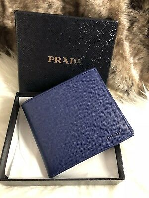 b03c418b23b6b4 NWT AUTHENTIC Prada Mens Bifold Wallet Inchiostro Blue Saffiano Leather  Coin Pkt
