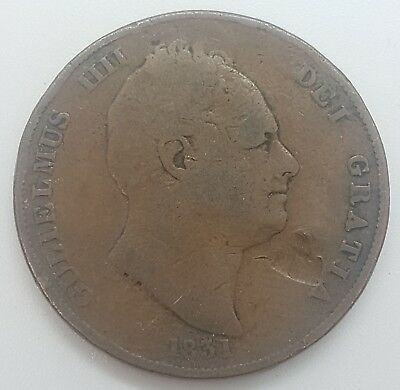 1831 Penny, William Iv, Ww On Truncation, Scarce