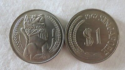 1967 Or 1968 Price Each $1 One Dollar Singapore Unc. Coin Lion