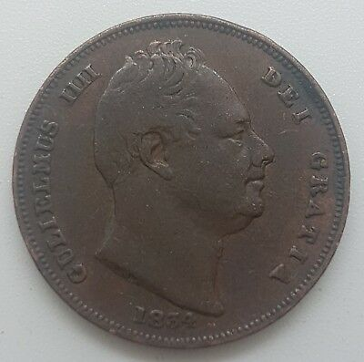 1834 Farthing, British Copper Coin, William Iv
