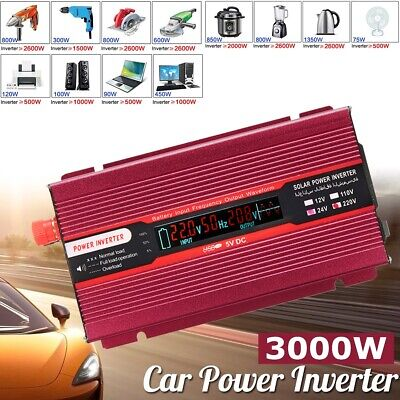 4000W Car Solar Power Inverter DC 12/24V To AC 110/220V USB Sine Wave Converter