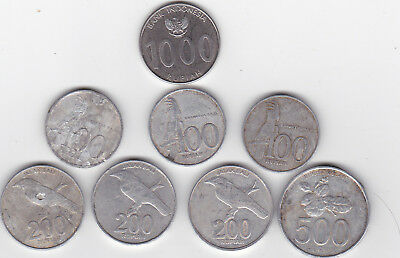 INDONESIAN COINS - Collection including uncommonly seen 1000 rupiah. CHEAP!
