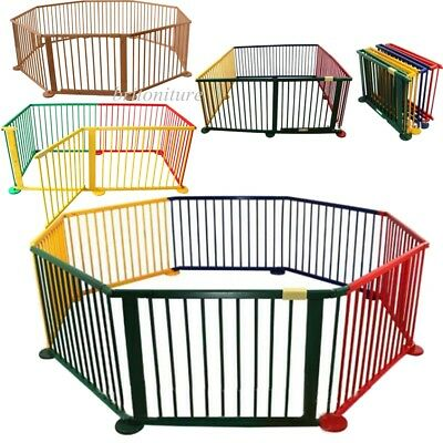 Foldable Baby Child Wooden Playpen Play 6 / 8 Panel Gate Fence Children Play Pen