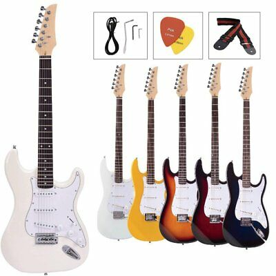 46'' Full Size Electric Guitar With Strap, Case,Pick Kit Bag White/Sunset Black