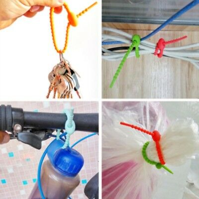 5pcs Silicone Food Bag Sealing Ties Clips Beam Port Cable Tie Household Random