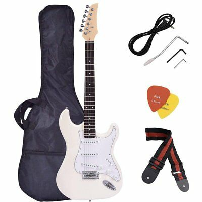 Full Size Electric Guitar + Gig Bag Case + Guitar Strap Beginners White 6 String