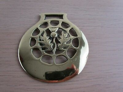 Vintage/Antique Horse Brass Scottish Thistle in unusual pierced surround rare